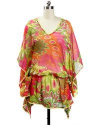 Saachi - Yellow & Pink Retro Chiffon Printed Kaftan - Lyst