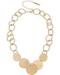 T Tahari - Graduated Hammered Disc Necklace - Lyst