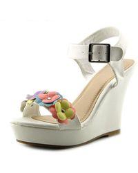Bamboo - Widget-03 Women Open Toe Synthetic Wedge Sandal - Lyst
