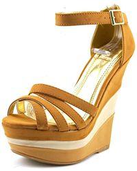 Bamboo - Skyline-05 Women Open Toe Synthetic Brown Wedge Sandal - Lyst
