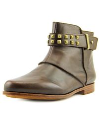 Earthies - Treano Women Round Toe Leather Brown Ankle Boot - Lyst