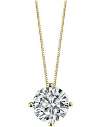Charles & Colvard - Forever Brilliant Round Brilliant Cut Moissanite Yellow Gold Pendant Necklace - Lyst