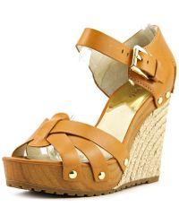 MICHAEL Michael Kors - Somerly Wedge Women Open Toe Leather Brown Wedge Sandal - Lyst