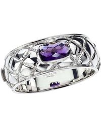 Jewelista - Sterling Silver & Amethyst Quilted Bangle - Lyst