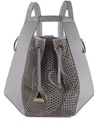Nada Sawaya - Lynn Backpack Laser Cut Leather Grey - Lyst