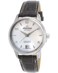 Alpina - Women's Comtesse Automatic Grey Genuine Leather Mop Dial Ss - Lyst