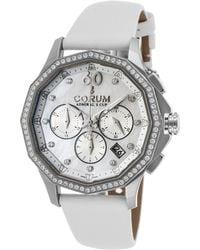 Corum - Women's Admiral's Cup Legend Diamond Auto Chrono White Satin Mop Dial - Lyst