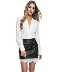 Lamarque - Ciona Lamb Leather And Lace Mini Skirt - Lyst