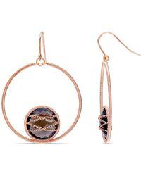 Catherine Malandrino - Round Smokey Quartz Circle Drop Earrings In Sterling Silver - Lyst