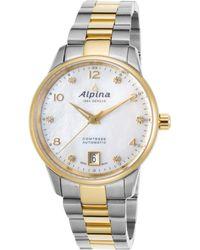 Alpina - Women's Comtesse Diamond Auto Two-tone Ss Mop Dial Gold-tone Bezel - Lyst
