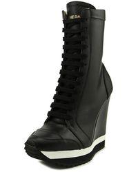 Ruthie Davis - Techy Women Round Toe Leather Black Mid Calf Boot - Lyst