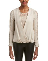 Chelsea and Walker - Lace-sleeve Silk Blouse - Lyst