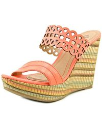 Sofia Z - Eduarda Open Toe Synthetic Wedge Sandal - Lyst