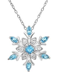 Amanda Rose Collection - Sterling Silver Blue And White Snowflake Pendant Necklace With Swarovski Crystals - Lyst