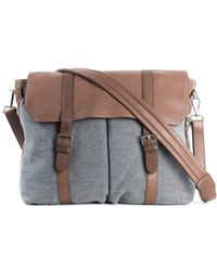 Brunello Cucinelli - Grey Brown Travel Shoulder Leather Messenger Bag - Lyst 1ef367d6499e7