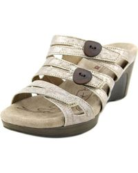Romika - Waikiki 01 Women Open Toe Leather Grey Slides Sandal - Lyst