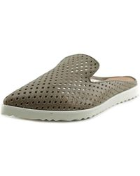 All Black - Perforated Sneaker Slide Women Open Toe Leather Brown Slides Sandal - Lyst