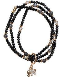 Bungalow 20 - Glass Bead With Elephant Charm Bracelet Trio - Lyst