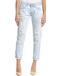 AG Jeans - The Nikki 28 Years Shredded Relaxed Skinny Crop Leg - Lyst
