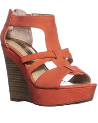 INC International Concepts - I35 Cressida Rear Zip Wedge Sandals , Grapefruit - Lyst