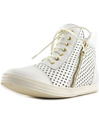 All Black - Hi-top Perf Women Round Toe Leather White Trainers - Lyst