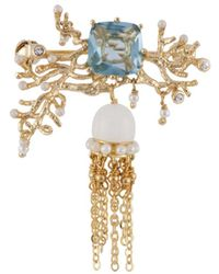 Les Nereides - Atlantide Jellyfish With Coral And Blue Stone Brooch - Lyst