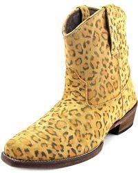Roper - Cheeta Women Square Toe Suede Tan Western Boot - Lyst