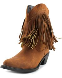 """Roper - 8"""" Shorty W/fringe Pointed Toe Leather Ankle Boot - Lyst"""