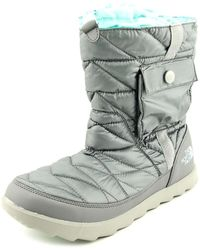 The North Face - Thermoball Bootie Women Round Toe Canvas Grey Winter Boot - Lyst