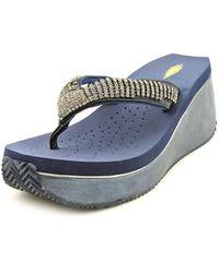 Volatile - Fairydust Women Open Toe Leather Wedge Sandal - Lyst