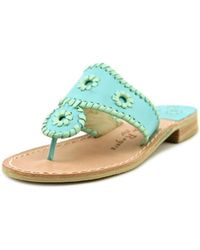60961fae83c Jack Rogers - Lexi Women Open Toe Leather Green Slides Sandal - Lyst