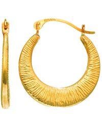 Jewelry Affairs - 14k Yellow Gold Graduated Textured Hoop Earrings, Diameter 17mm - Lyst