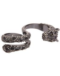 Betsey Johnson - Roses Cz & Enamel Double Ring - Lyst