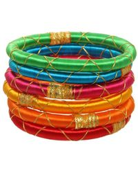 Rosena Sammi - Jewelry Set Of 6 Upcycled Sari Monsoo Gold Accent Bangles - Lyst