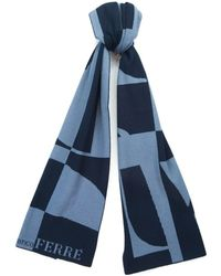 Gianfranco Ferré - Scr 01950 Navy/light Blue Knitted Wool Blend Mens Scarf - Lyst