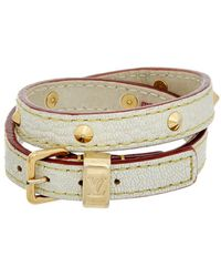 Louis Vuitton - White Suhali Leather Double Tour Bracelet - Lyst