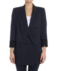 Pinko - Women's Blue Wool Blazer - Lyst