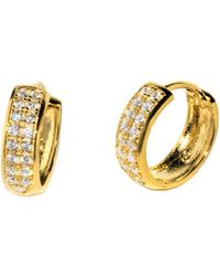 Barzel - 18k Gold Plated Sterling Silver Rodium Plated Cz Huggies Earring - Lyst