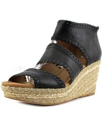 Corso Como - Joyce Women Open Toe Leather Black Wedge Sandal - Lyst