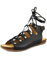 Adam Tucker - Nori 4 Women Open Toe Leather Black Gladiator Sandal - Lyst