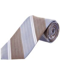 Cole Haan - Blue Double Stripe Silk-blend Tie - Lyst