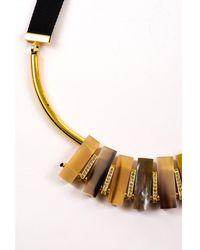 Marni - Nwot Gold Tone Cream Black Horn Crystal Bar Bib Statement Necklace - Lyst