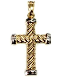Jewelry Affairs - 14k Yellow Gold Twisted Cable Cross Mens Pendant, 25 X 15 Mm - Lyst