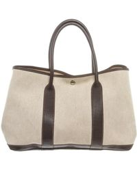 Hermès - Pre Owned - Beige Canvas Brownleather Medium Garden Party Tote Bag  - Lyst 24c8743b7e