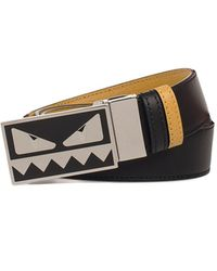 e28da406b4 Lyst - Fendi Cobalt And Navy Leather Logo Buckle Reversible Belt in ...