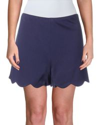 Aqua - Womens Scalloped Flat Front Casual Shorts - Lyst