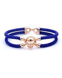 Double Bone - Single Skull Bracelet Pink Gold/ Blue Stingray - Lyst