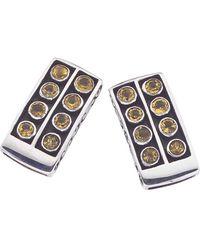 Jewelista - Oxidized Sterling Silver & Citrine Stud Earrings - Lyst
