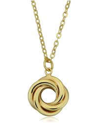 """Jewelry Affairs - 10k Yellow Gold Love Knot Pendant On 18"""" Necklace - Lyst"""
