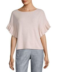 Saks Fifth Avenue - Cashmere Ruffle T-shirt - Lyst